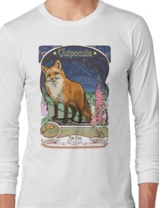 Fox and Foxgloves Constellation Vulpecula Art Nouveau Style Long Sleeve T-Shirt