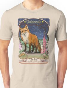 Fox and Foxgloves Constellation Vulpecula Art Nouveau Style Unisex T-Shirt