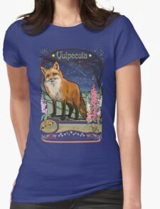 Fox and Foxgloves Constellation Vulpecula Art Nouveau Style Womens Fitted T-Shirt