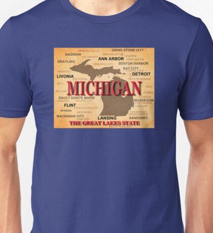 Aged Michigan State Pride Map Silhouette  Unisex T-Shirt