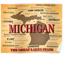 Aged Michigan State Pride Map Silhouette  Poster