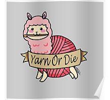 Yarn Alpaca - Yarn Or Die - Pink Poster