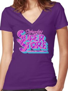 Saturday Superstore Women's Fitted V-Neck T-Shirt