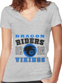 How to train you Dragon (Dragon Riders Black) Women's Fitted V-Neck T-Shirt