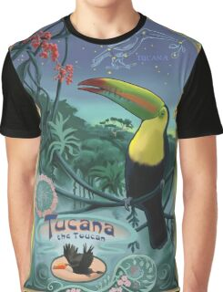 Toucan in Rainforest Constellation Tucana in Art Nouveau Style Graphic T-Shirt