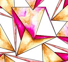 Pink gold yellow watercolor triangles pattern by GirlyTrend