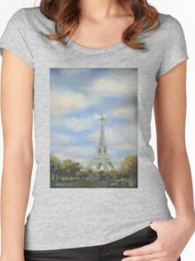 Eifel Tower, oil on canvas Women's Fitted Scoop T-Shirt