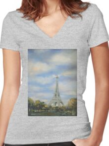 Eifel Tower, oil on canvas Women's Fitted V-Neck T-Shirt
