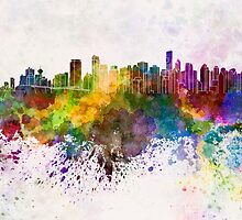 Vancouver skyline in watercolor background by paulrommer