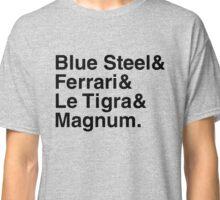 BLUE STEEL & FERRARI & LE TIGRA & MAGNUM ZOOLANDER Classic T-Shirt