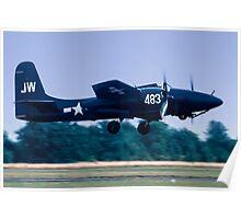 """Grumman F7F-3 Tigercat  80483/JW-483 N6178C """"Bad Kitty"""" Poster"""