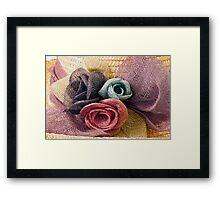 Raffia Roses on Hat  Framed Print