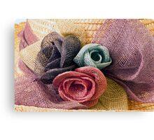 Raffia Roses on Hat  Canvas Print