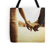 Bride and groom holding hands in sepia - analog 35mm black and white film photo Tote Bag