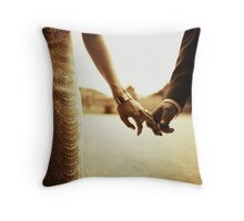 Bride and groom holding hands in sepia - analog 35mm black and white film photo Throw Pillow