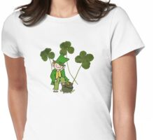 Easy-going Leprechaun with clovers from Montreal Womens Fitted T-Shirt