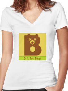 Bear Animal Alphabet Women's Fitted V-Neck T-Shirt