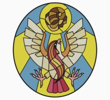 Twitch Plays Pokemon - Bird Jesus and the Helix Fossil Stained Glass by KatyM