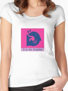 Dolphin Animal Alphabet Women's Fitted Scoop T-Shirt