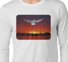 Scarlet Ocean Sunset. Original exclusive photo art. Long Sleeve T-Shirt
