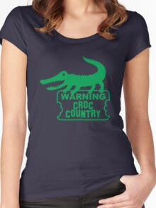 WARNING! Croc Country! with green corocdile! Women's Fitted Scoop T-Shirt