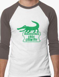 WARNING! Croc Country! with green corocdile! Men's Baseball ¾ T-Shirt