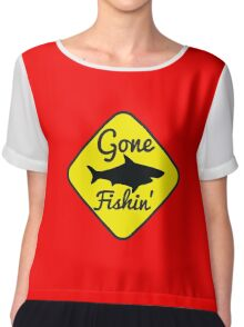 Gone Fishing yellow sign with a shark Chiffon Top