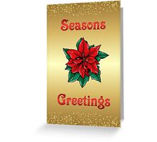 Gold Glitter Seasons Greetings Greeting Card