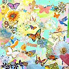 Mixed Media Butterflies and Birds Collage by Laura Bell