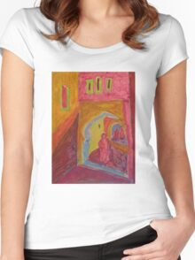 Atlas Travel Desert Caravan 2 village t shirt Women's Fitted Scoop T-Shirt