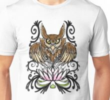 Owl and Lotus Flower  Unisex T-Shirt