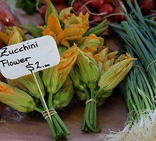 Zucchini flowers $2 Tasmania 2009 Hobart street market by Tom McDonnell