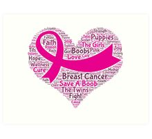 Breast Cancer Word Cloud Art Print