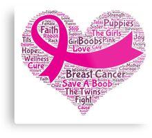 Breast Cancer Word Cloud Metal Print