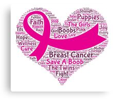 Breast Cancer Word Cloud Canvas Print