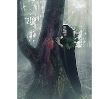 Woman druid listening to heartbeat of the tree art photo print Photographic Print