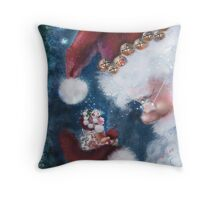 Santa and Elf Christmas Cheer Throw Pillow