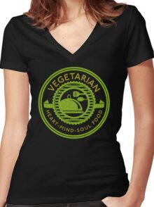 Vegetarian Heart Mind and Soul Food  Women's Fitted V-Neck T-Shirt