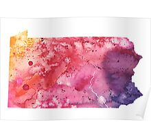 Watercolor Map of Pennsylvania, USA in Orange, Red and Purple - Giclee Print of my Own Painting Poster