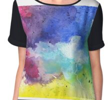 Watercolor Map of Pennsylvania, USA in Rainbow Colors - Giclee Print of My Own Watercolor Painting Chiffon Top