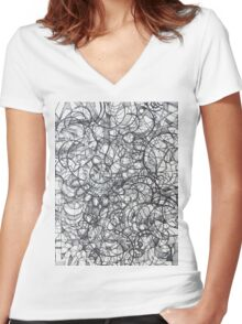 "The Artist Adamo ""RAW Sharpie Conceptual Quilting"" Women's Fitted V-Neck T-Shirt"