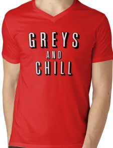 GREY'S AND CHILL - GREY'S ANATOMY Mens V-Neck T-Shirt