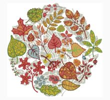 Circle composition with Autumn leaves,branches,berries One Piece - Short Sleeve