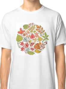 Circle composition with Autumn leaves,branches,berries Classic T-Shirt