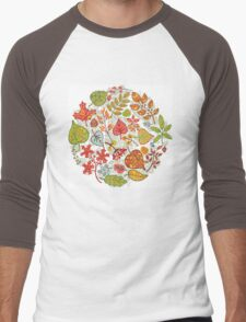 Circle composition with Autumn leaves,branches,berries Men's Baseball ¾ T-Shirt