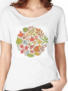 Circle composition with Autumn leaves,branches,berries Women's Relaxed Fit T-Shirt