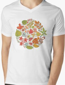 Circle composition with Autumn leaves,branches,berries Mens V-Neck T-Shirt