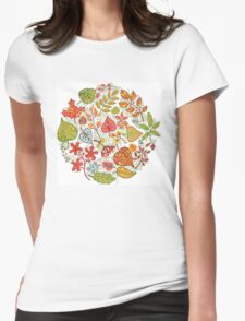 Circle composition with Autumn leaves,branches,berries Womens Fitted T-Shirt