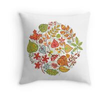 Circle composition with Autumn leaves,branches,berries Throw Pillow