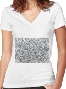 """The Artist Adamo """"RAW Coceptual Sharpie french curve 2014"""" Women's Fitted V-Neck T-Shirt"""